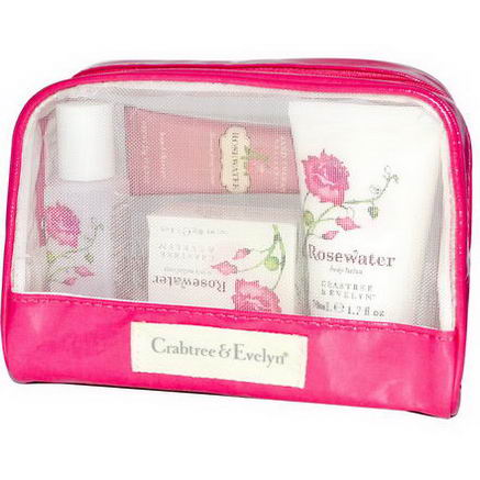 Crabtree & Evelyn, Classic Traveler, Rosewater, 4 Piece Kit
