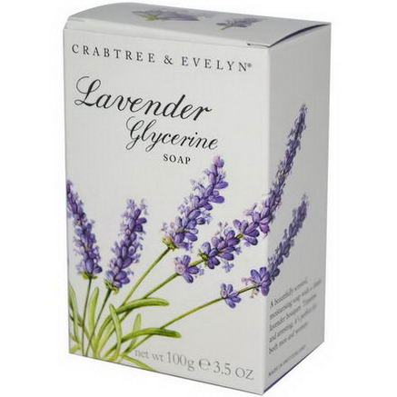 Crabtree & Evelyn, Glycerine Soap, Lavender, 3.5oz (100g)