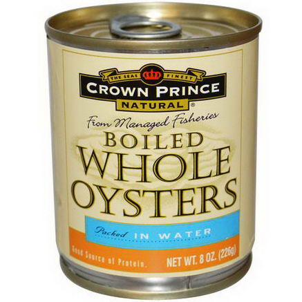 Crown Prince Natural, Boiled Whole Oysters, Packed In Water, 8oz (226g)