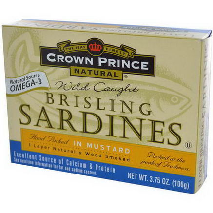 Crown Prince Natural, Brisling Sardines, in Mustard, 3.75oz (106g)