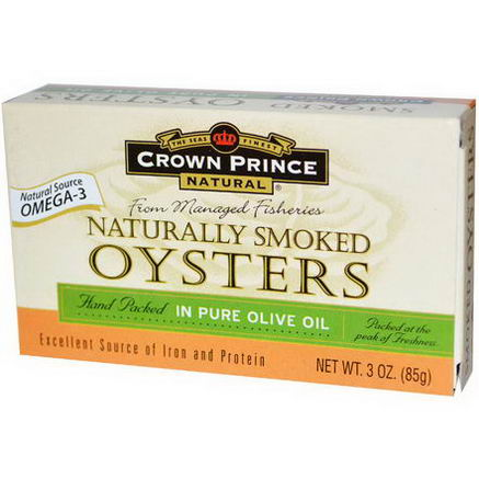 Crown Prince Natural, Naturally Smoked Oysters, in Pure Olive Oil, 3oz (85g)