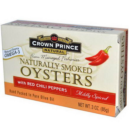 Crown Prince Natural, Naturally Smoked Oysters with Red Chili Peppers, Mildly Spiced, 3oz (85g)