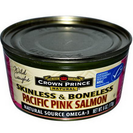 Crown Prince Natural, Pacific Pink Salmon, Skinless & Boneless, 6oz (170g)