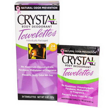Crystal Body Deodorant, Crystal Body Deodorant Towelettes, 24 Towelettes, 0.1oz (4g) Each