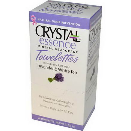 Crystal Body Deodorant, Crystal Essence, Mineral Deodorant Towelettes, Lavender & White Tea, 48 Towelettes