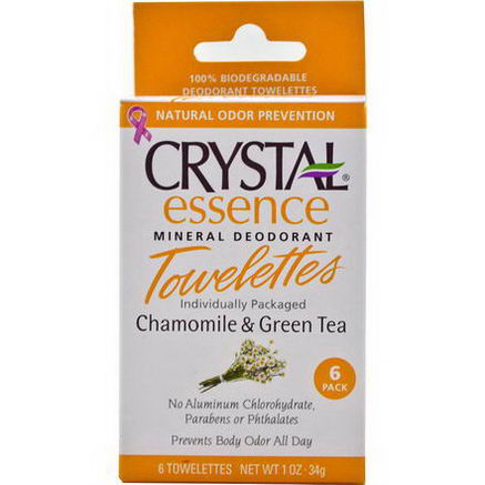 Crystal Body Deodorant, Essence Mineral Deodorant Towelettes, Chamomile & Green Tea, 6 Towelettes, 0.1oz (4g) Each