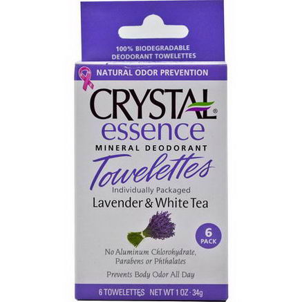 Crystal Body Deodorant, Essence Mineral Deodorant Towelettes, Lavender & White Tea, 6 Towelettes, 0.1oz (34g) Each