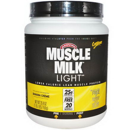 Cytosport, Inc, Genuine Muscle Milk Light, Lower Calorie Lean Muscle Protein, Banana Creme, 26.4oz (750g)