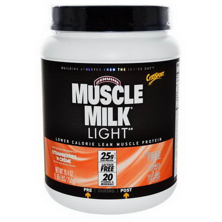 Cytosport, Inc, Genuine Muscle Milk Light, Lower Calorie Lean Muscle Protein, Strawberries/Creme, 26.4oz (750g)