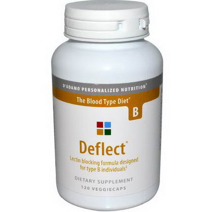 D'adamo, Deflect, Lectin Blocking Formula, The Blood Type Diet B, 120 Veggie Caps