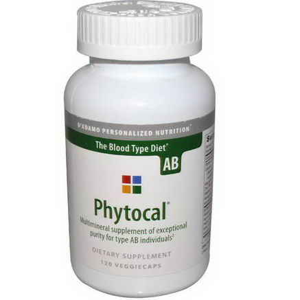 D'adamo, Phytocal, Multimineral Supplement, The Blood Type Diet AB, 120 Veggie Caps