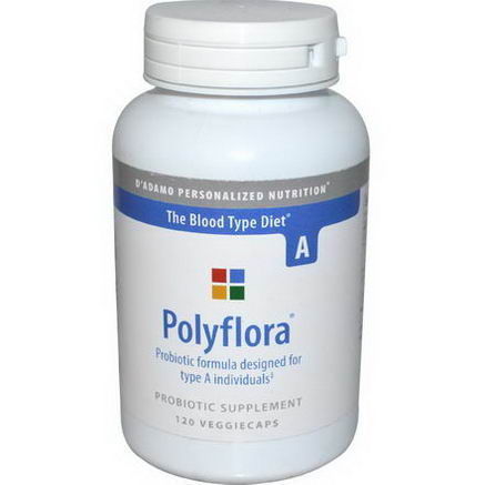 D'adamo, Polyflora, Probiotic Formula for Blood Type A, 120 Veggie Caps