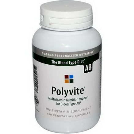D'adamo, Polyvite, For Blood Type AB, 120 Veggie Caps