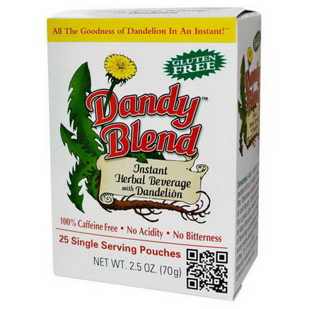 Dandy Blend, Instant Herbal Beverage With Dandelion, 25 Single Serving Pouches