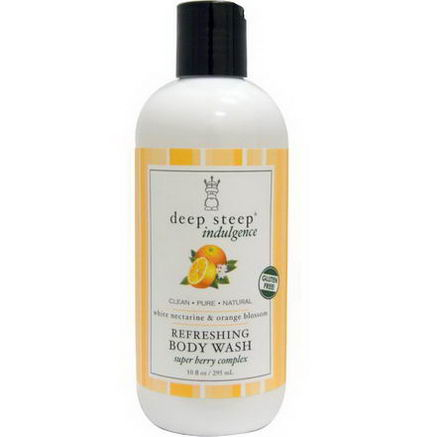 Deep Steep, Indulgence, Refreshing Body Wash, White Nectarine & Orange Blossom, 10 fl oz (295 ml)