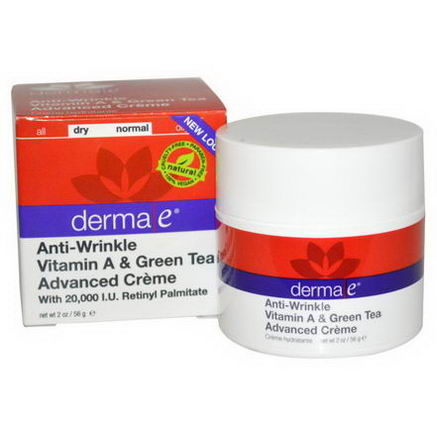 Derma E, Anti-Wrinkle Vitamin A & Green Tea Advanced Cream, 2oz (56g)