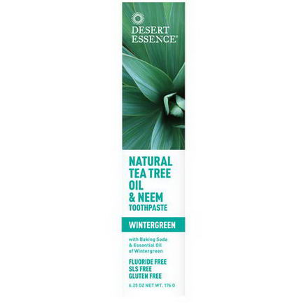 Desert Essence, Natural Tea Tree Oil & Neem Toothpaste, Wintergreen, 6.25oz (176g)