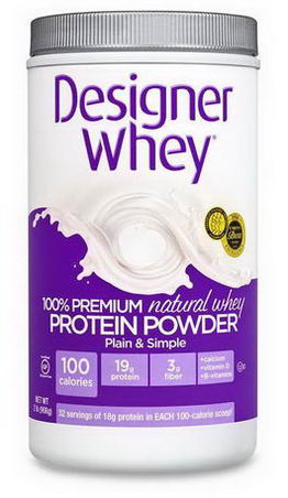 Designer Whey, 100% Premium Natural Whey Protein Powder, Plain & Simple, 2 lb (908g)