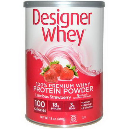 Designer Whey, 100% Premium Whey Protein Powder, Luscious Strawberry, 12oz (340g)