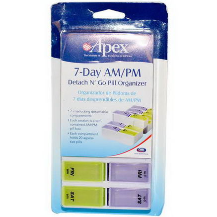 DNG Apex, 7-Day AM/PM Detach N' Go, 1 Pill Organizer