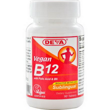 Deva, Vegan B12, Sublingual, 90 Tablets
