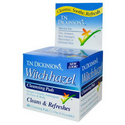 Dickinson Brands, T. N. Dickinson's Witch Hazel Cleansing Pads, 60 Pads, 2.13 in (5.41 cm) dia