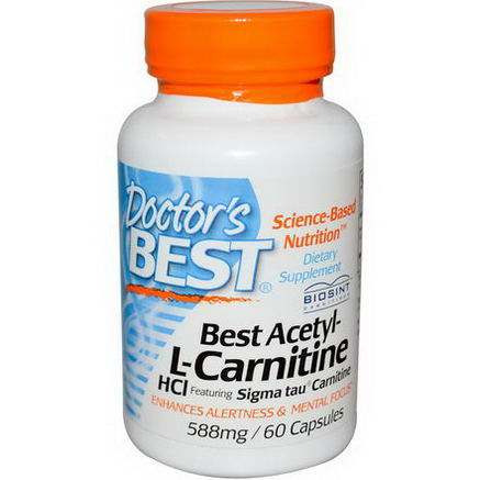 Doctor's Best, Best Acetyl-L-Carnitine HCl, 588mg, 60 Capsules