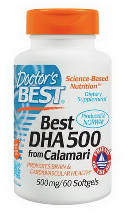 Doctor's Best, Best DHA 500, from Calamari, 500mg, 60 Softgels