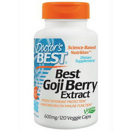 Doctor's Best, Best Goji Berry Extract, 600mg, 120 Veggie Caps