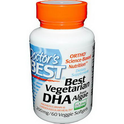 Doctor's Best, Best Vegetarian DHA, from Algae, 200mg, 60 Veggie Softgels