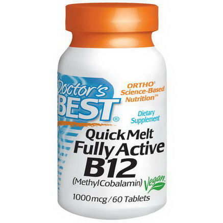Doctor's Best, Quick Melt Fully Active B12, 1000 mcg, 60 Tablets