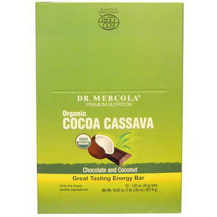 Dr. Mercola, Premium Nutrition, Organic Cocoa Cassava, Energy Bar, Chocolate and Coconut, 12 Bars, 1.55oz (44g) Each