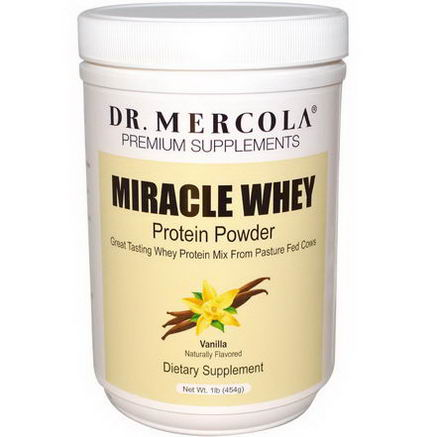 Dr. Mercola, Premium Supplements, Miracle Whey, Protein Powder, Vanilla, 1 lb (454g)