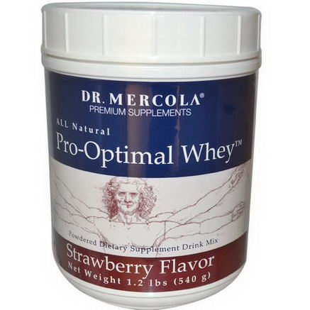 Dr. Mercola, Premium Supplements, Pro-Optimal Whey, Strawberry Flavor, 1.2 lbs (540g)
