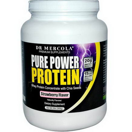 Dr. Mercola, Premium Supplements, Pure Power Protein, Strawberry Flavor, 2 lbs (909g)
