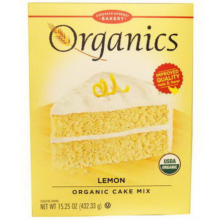 European Gourmet Bakery, Organics, Cake Mix, Lemon, 15.25oz (432.33g)