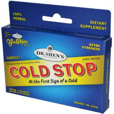 Dr. Shen's, Cold Stop, Extra Strength, Honeysuckle & Forsythia Pills, 15 Tablets