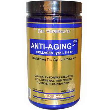 Dr. Venessa's, Anti-Aging 3, Collagen Type I, II & III, Tropical, 21.7oz (615g)