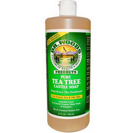 Dr. Woods, Pure Tea Tree Castile Soap, For Normal, Dry & Oily Skin, 32 fl oz (946 ml)
