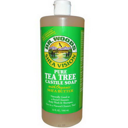 Dr. Woods, Pure Tea Tree Castile Soap with Organic Shea Butter, 32 fl oz (946 ml)