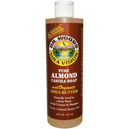 Dr. Woods, Shea Vision, Pure Almond Castile Soap with Organic Shea Butter, 16 fl oz (473 ml)