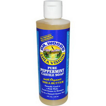 Dr. Woods, Shea Vision, Pure Peppermint Castile Soap with Organic Shea Butter, 8 fl oz (236 ml)