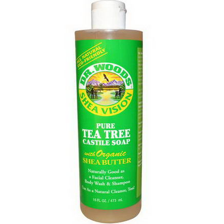 Dr. Woods, Shea Vision, Pure Tea Tree Castile Soap with Organic Shea Butter, 16 fl oz (473 ml)