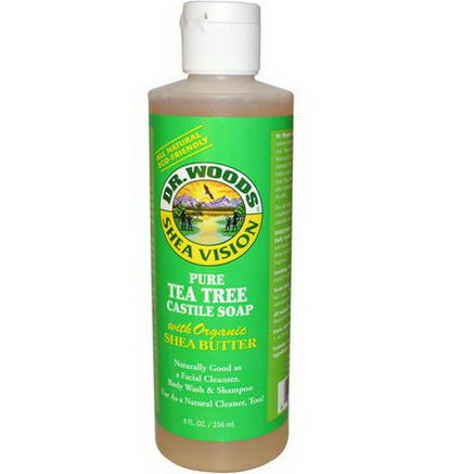 Dr. Woods, Shea Vision, Pure Tea Tree Castile Soap with Organic Shea Butter, 8 fl oz (236 ml)
