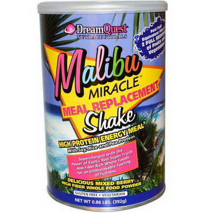 Dream Quest Nutraceuticals, Malibu Miracle Meal Replacement Shake, 0.86 lbs (392g)