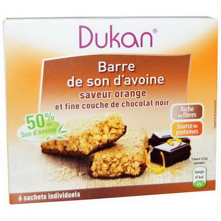 Dukan Diet, Oat Bran Orange Chocolate Bars, 6 Bars, (25g) Each