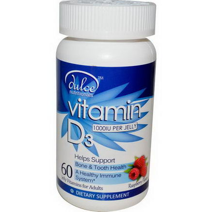 Dulce Nutritionals, Vitamin D3, Raspberry Flavor, 1000 IU, 60 Jelly Vitamins