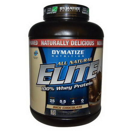 Dymatize Nutrition, All Natural Elite 100% Whey Protein, Rich Chocolate, 5 lbs (2, 312g)