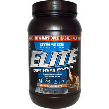 Dymatize Nutrition, Elite, 100% Whey Protein, Rich Chocolate, 2 lbs (907g)