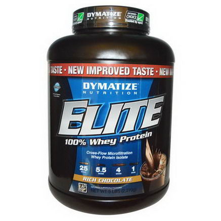 Dymatize Nutrition, Elite 100% Whey Protein, Rich Chocolate, 5 lbs (2, 270g)